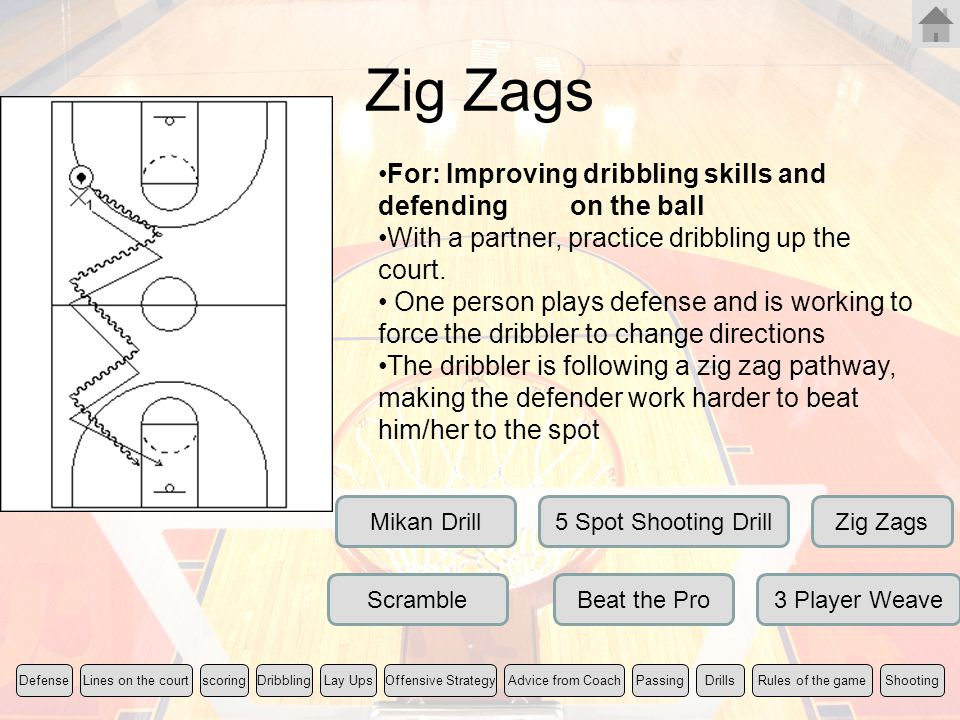 Zig Zags For: Improving dribbling skills and defending on the ball