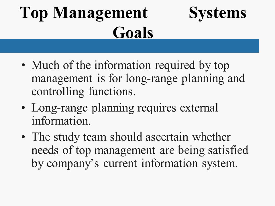 Top Management Systems Goals