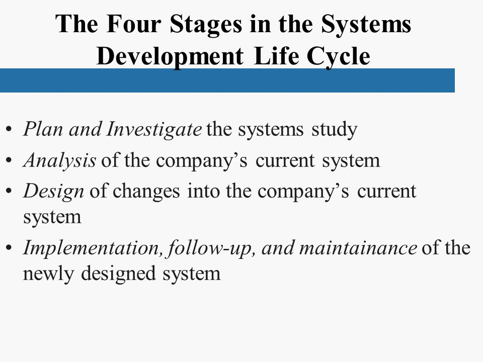 The Four Stages in the Systems Development Life Cycle