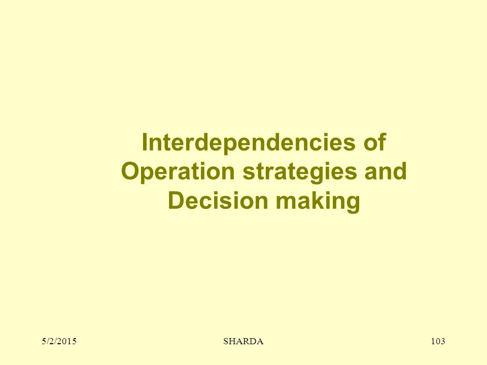 Interdependencies of Operation strategies and Decision making
