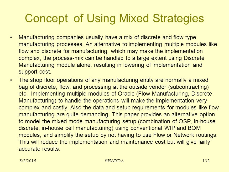 Concept of Using Mixed Strategies
