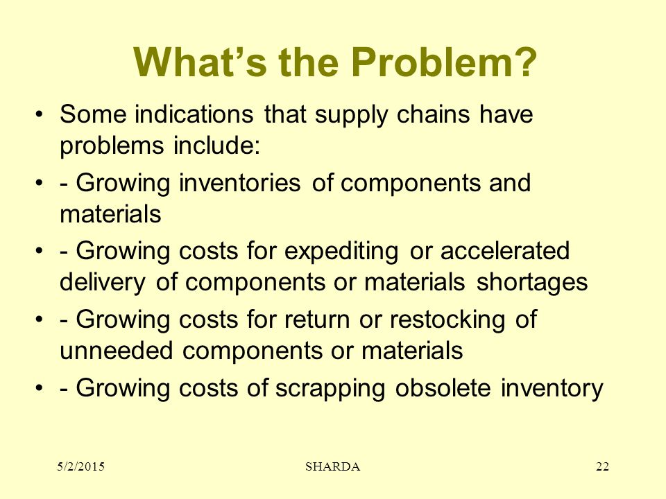What's the Problem Some indications that supply chains have problems include: - Growing inventories of components and materials.