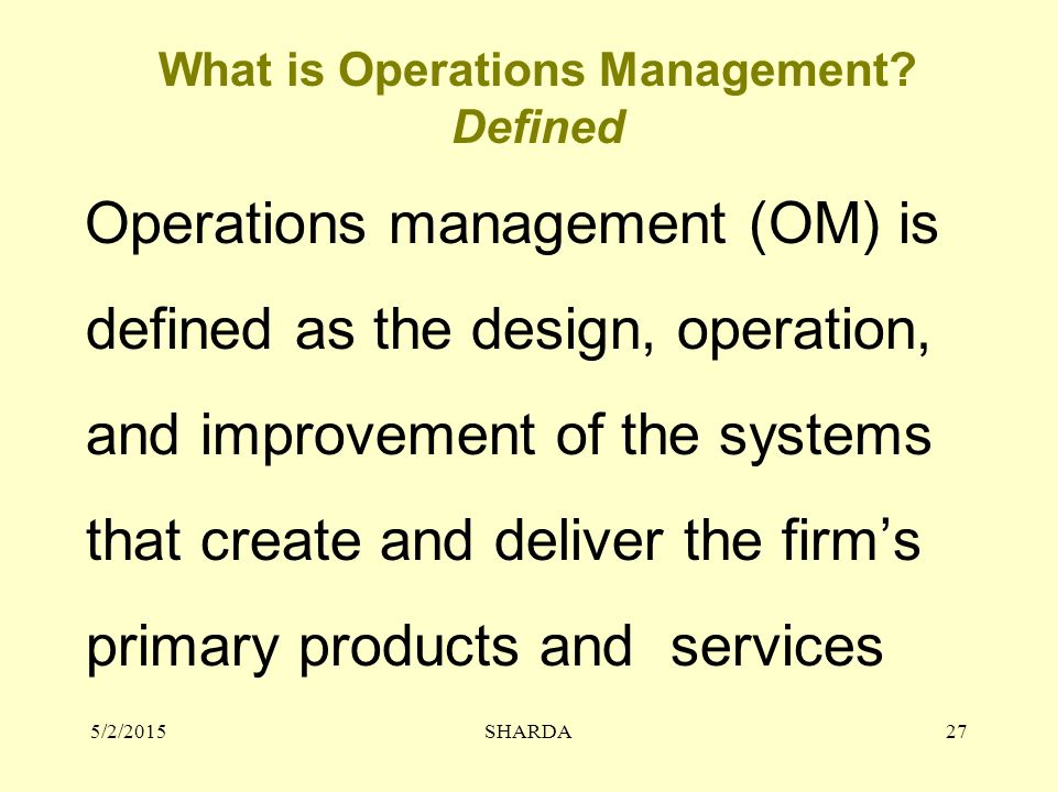 What is Operations Management Defined