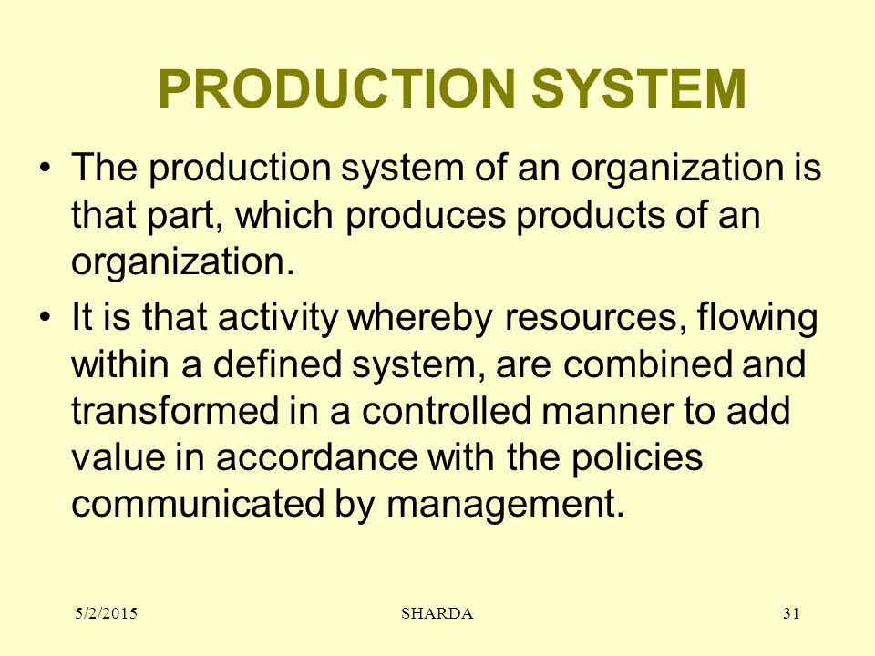 PRODUCTION SYSTEM The production system of an organization is that part, which produces products of an organization.