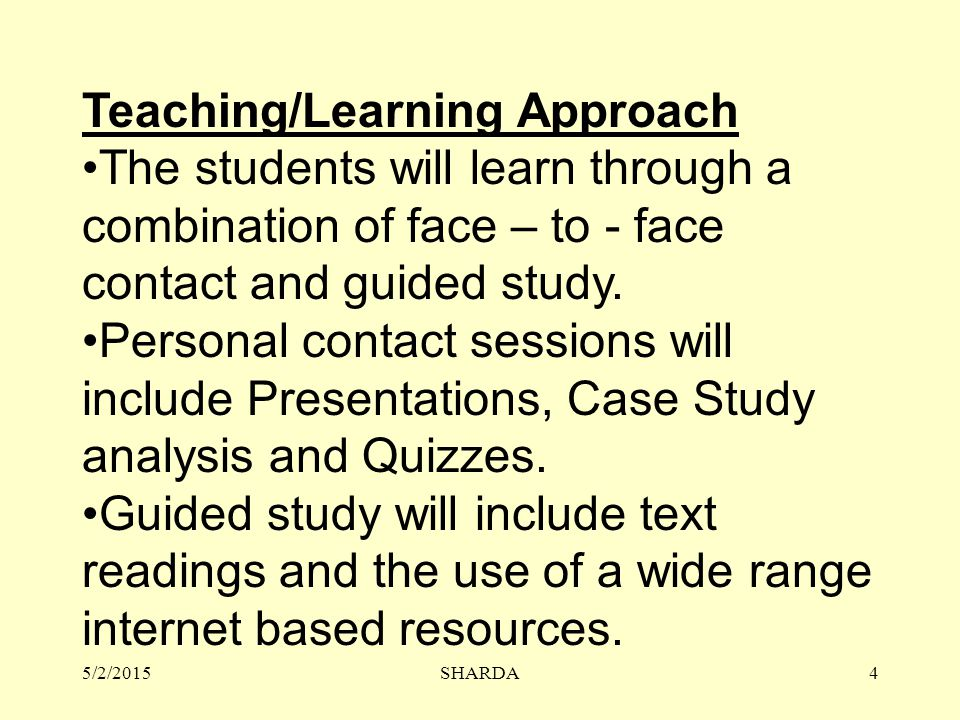 Teaching/Learning Approach