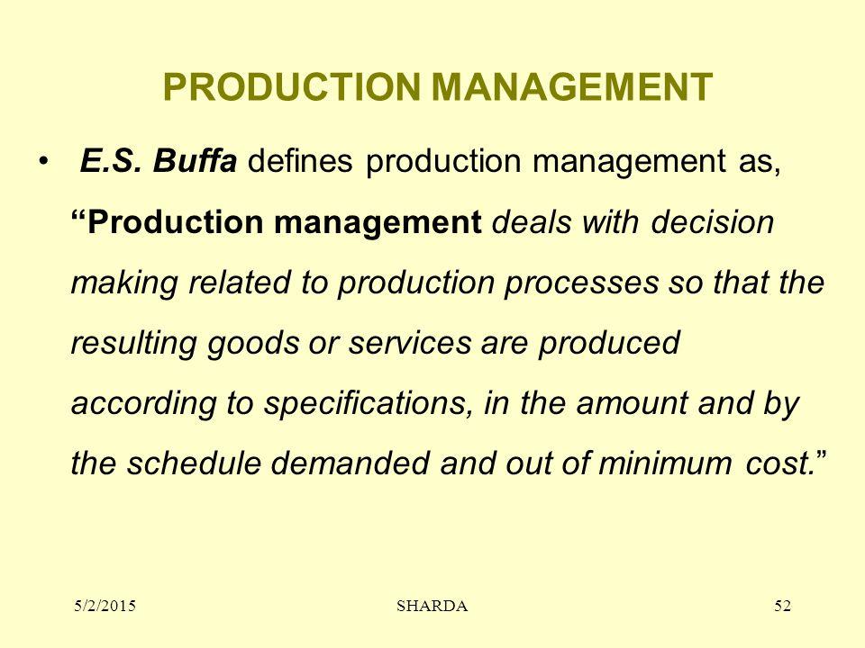 PRODUCTION MANAGEMENT