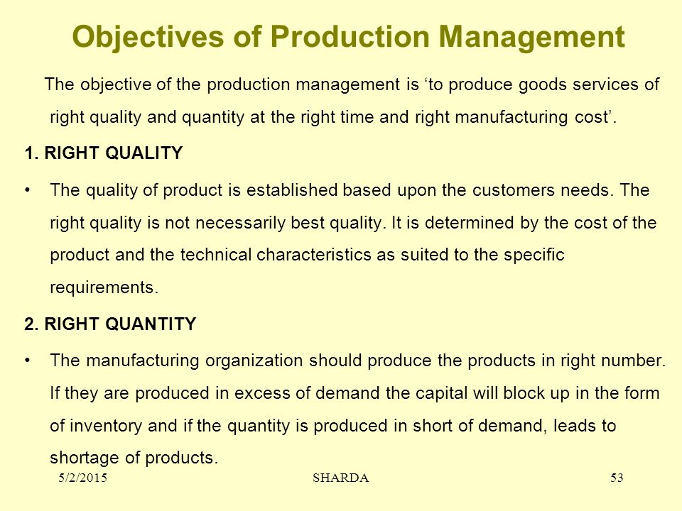Objectives of Production Management