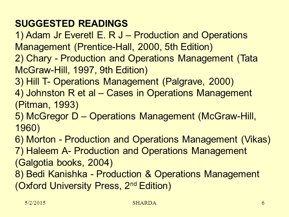 3) Hill T- Operations Management (Palgrave, 2000)