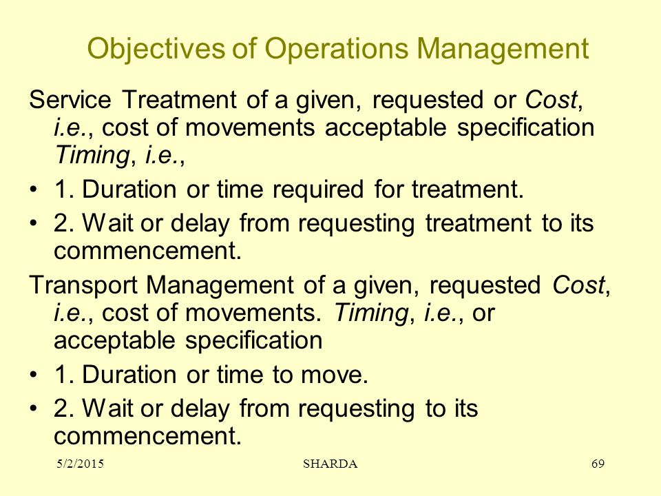 Objectives of Operations Management