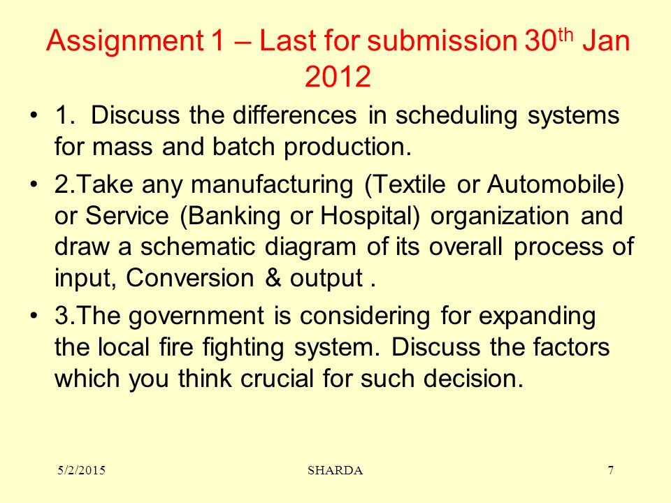 Assignment 1 – Last for submission 30th Jan 2012