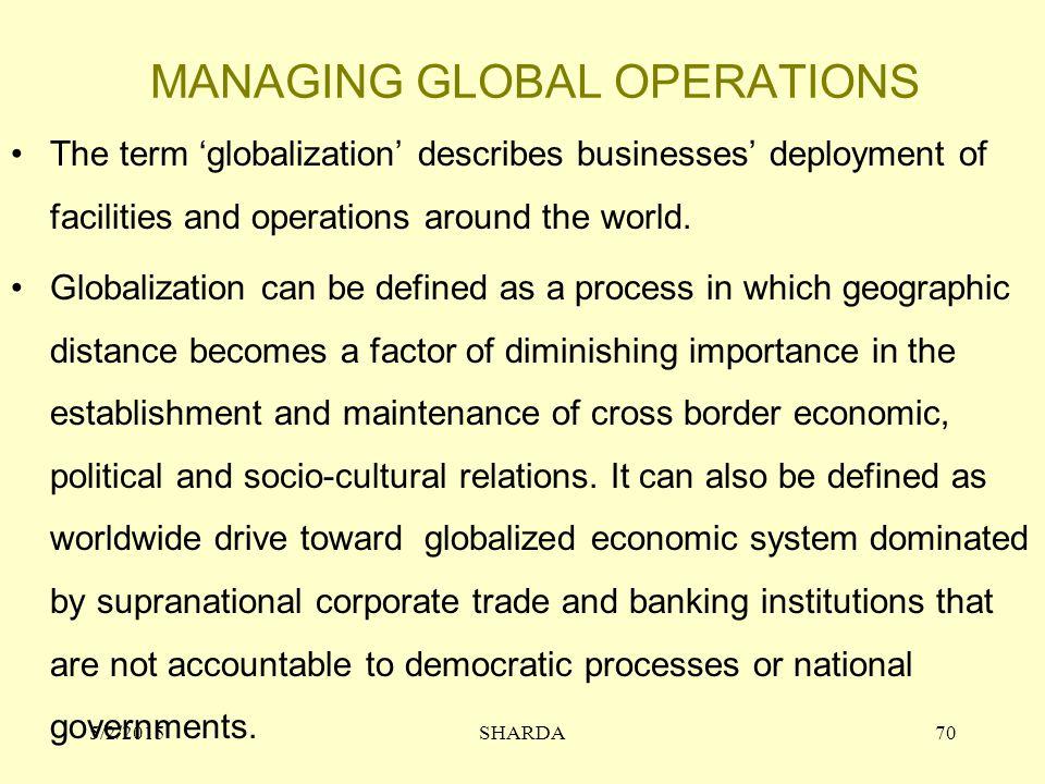 MANAGING GLOBAL OPERATIONS