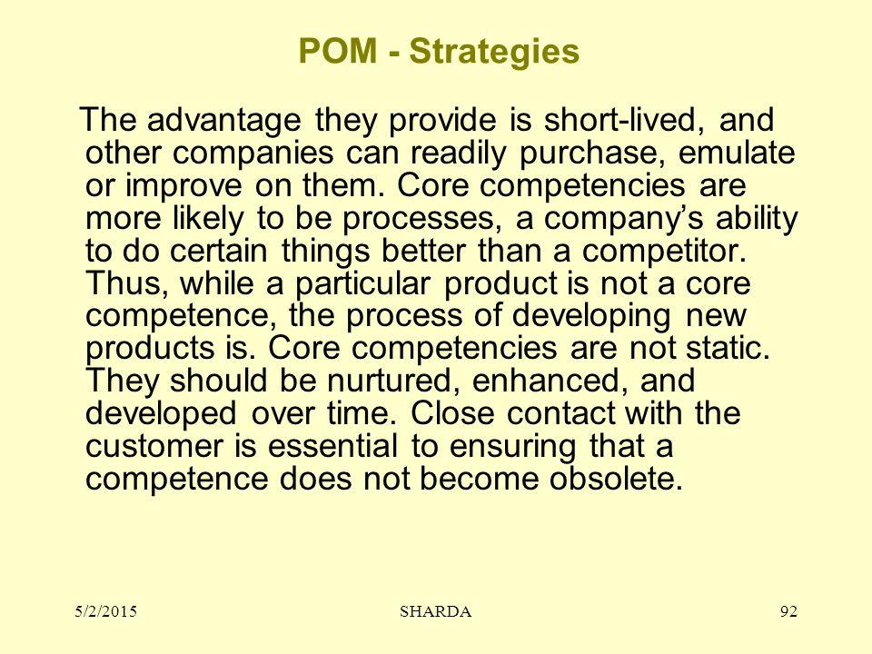 POM - Strategies 4/14/2017 SHARDA