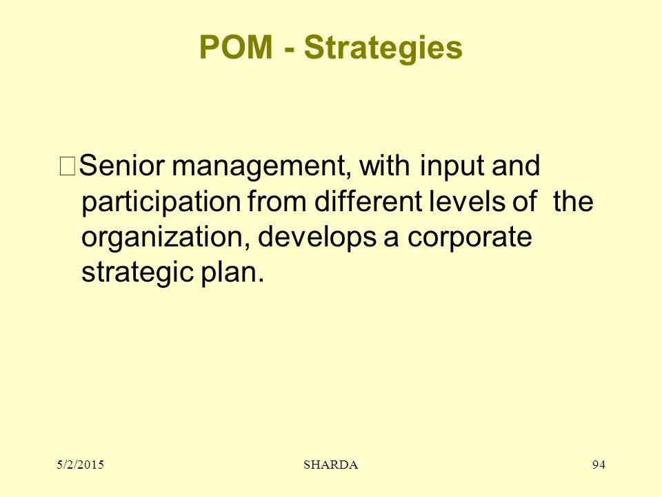 POM - Strategies Senior management, with input and participation from different levels of the organization, develops a corporate strategic plan.