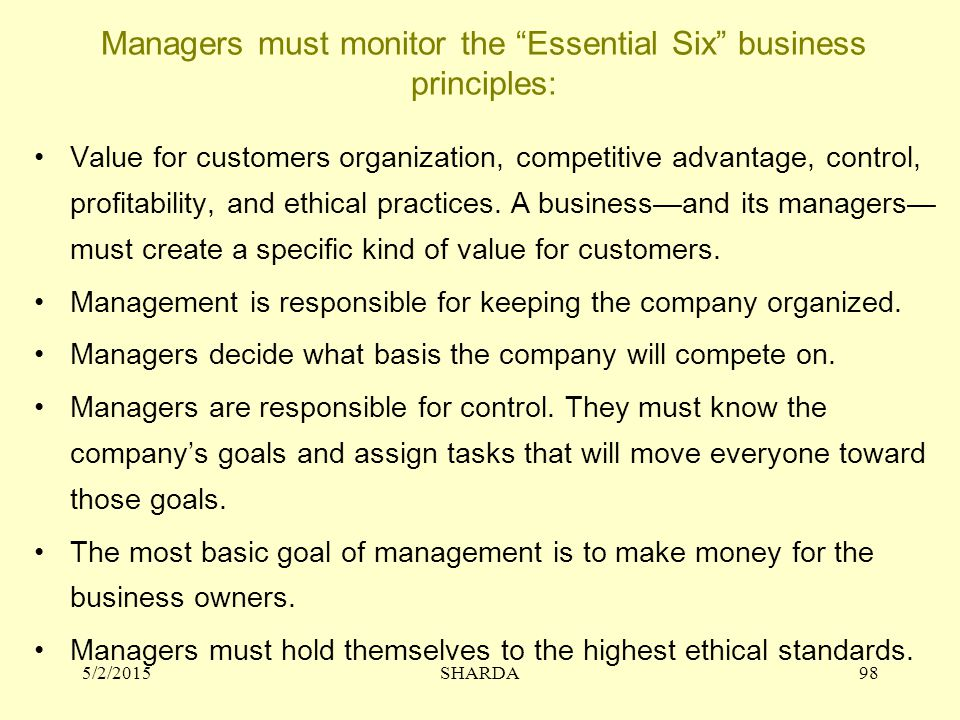 Managers must monitor the Essential Six business principles:
