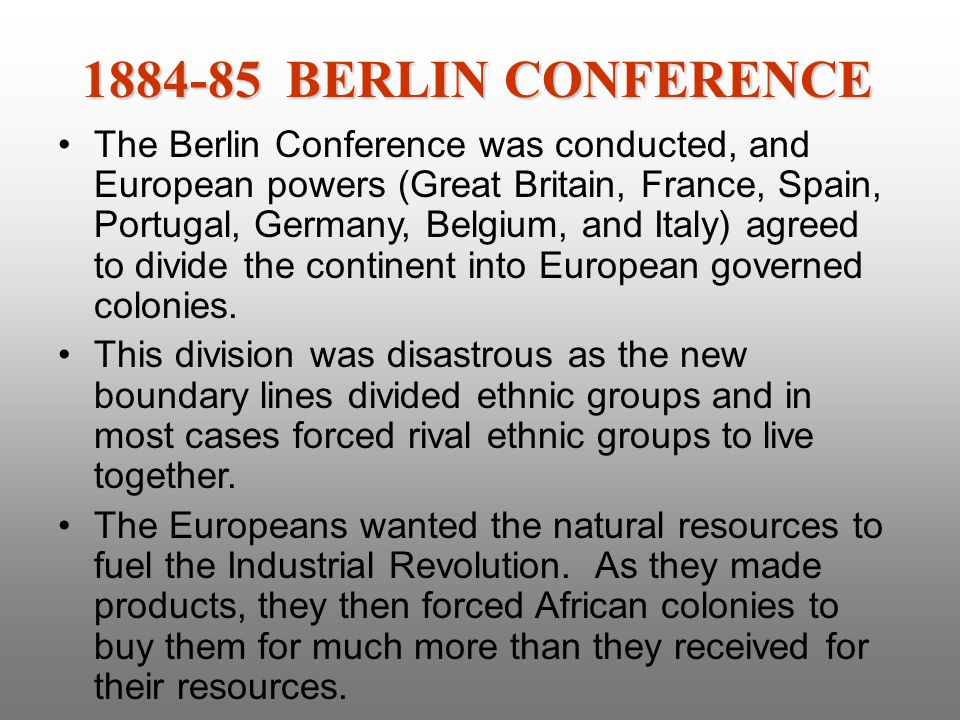 1884-85 BERLIN CONFERENCE