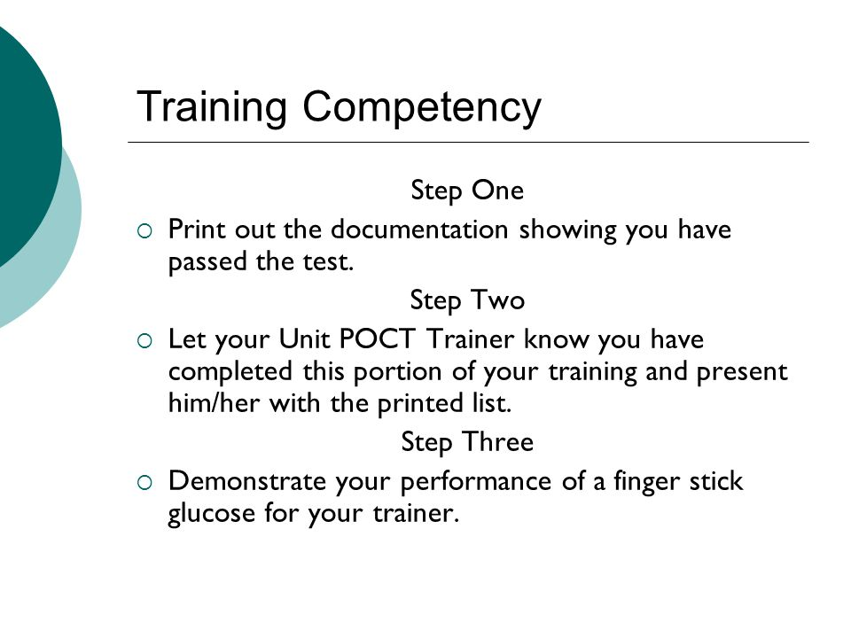 Training Competency Step One