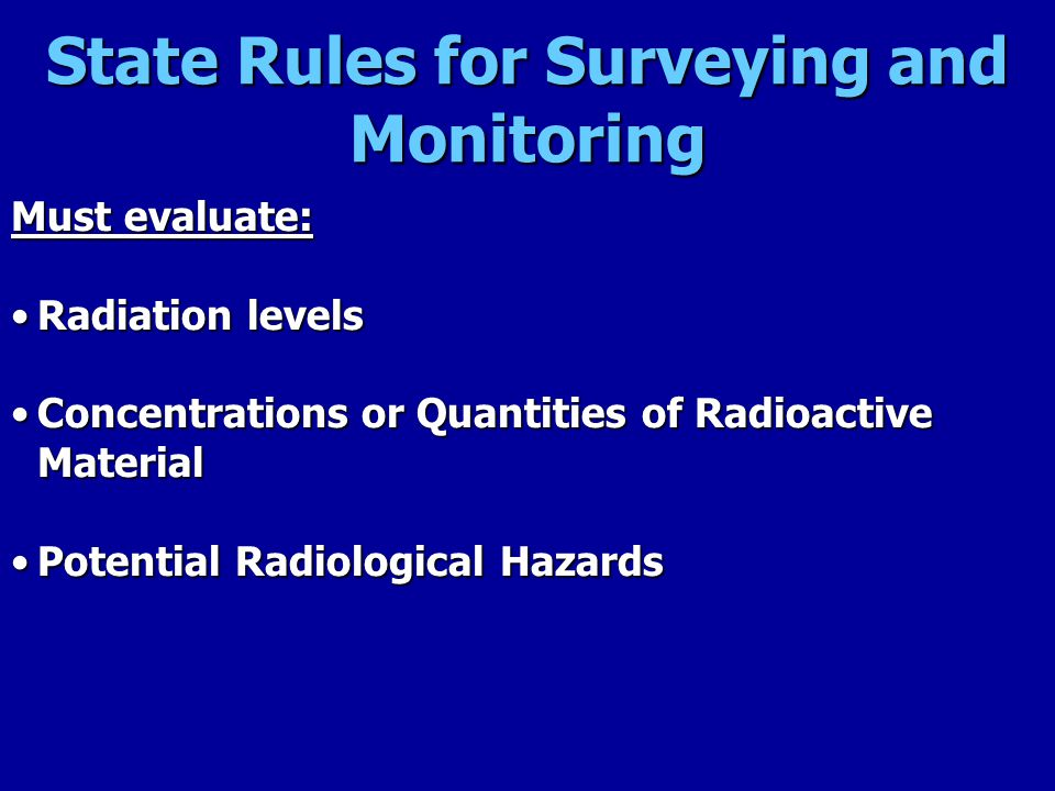 State Rules for Surveying and Monitoring