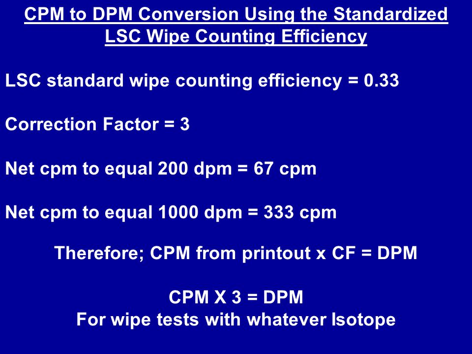 LSC standard wipe counting efficiency = 0.33 Correction Factor = 3