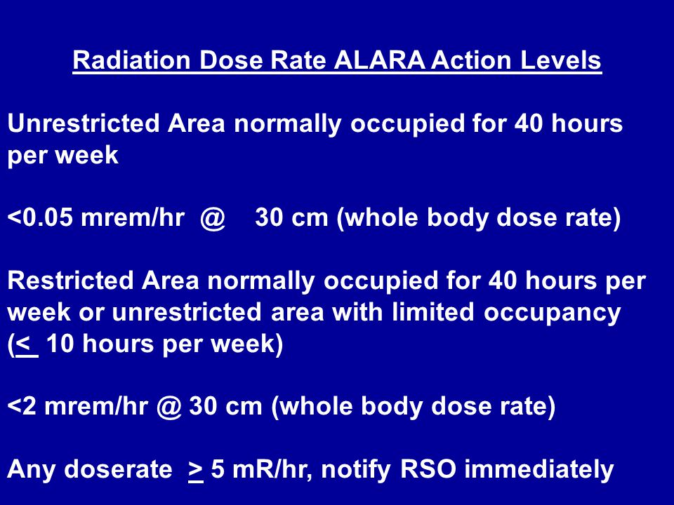 Radiation Dose Rate ALARA Action Levels