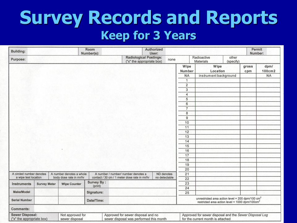 Survey Records and Reports Keep for 3 Years