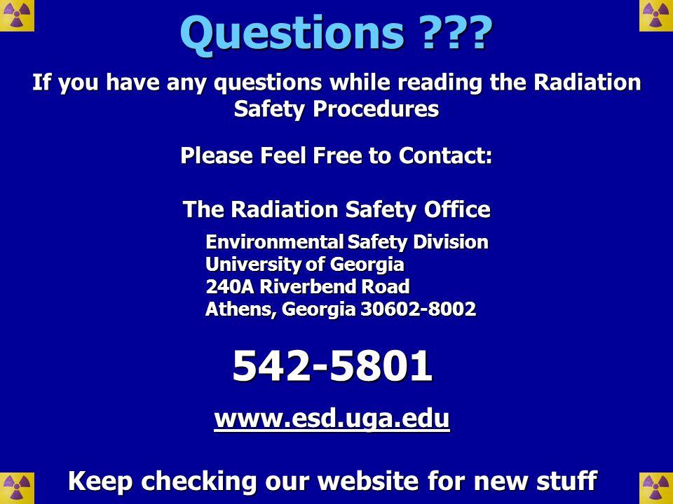 Questions 542-5801 www.esd.uga.edu