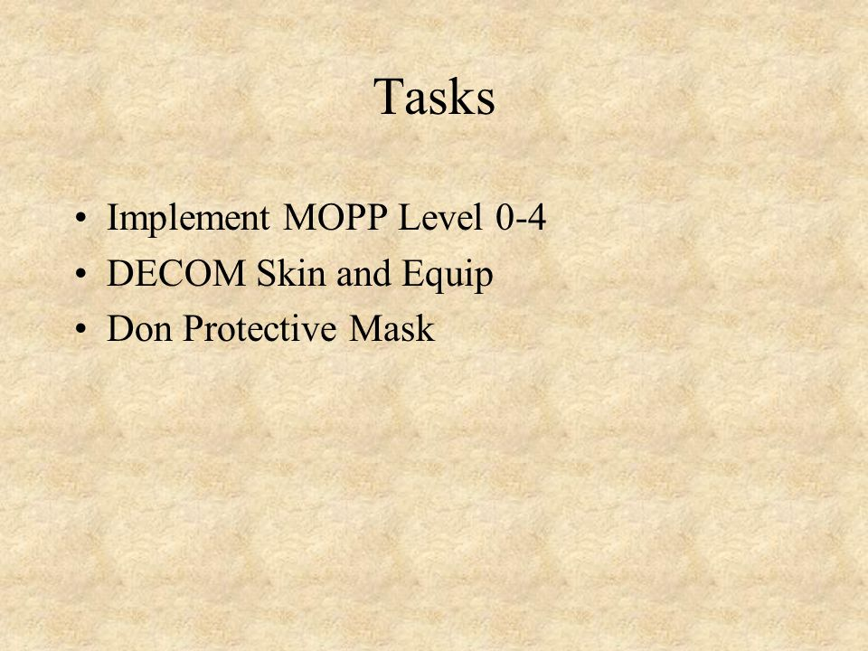 Tasks Implement MOPP Level 0-4 DECOM Skin and Equip