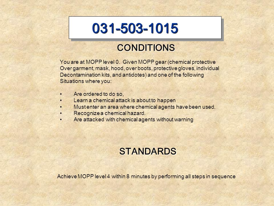 031-503-1015 CONDITIONS STANDARDS