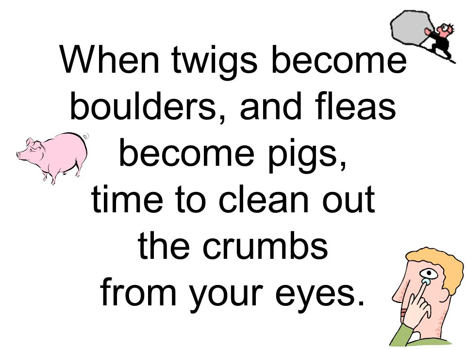When twigs become boulders, and fleas become pigs, time to clean out the crumbs from your eyes.
