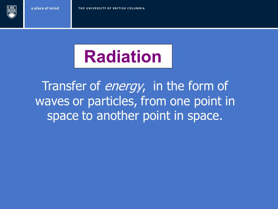 Radiation Transfer of energy, in the form of waves or particles, from one point in space to another point in space.