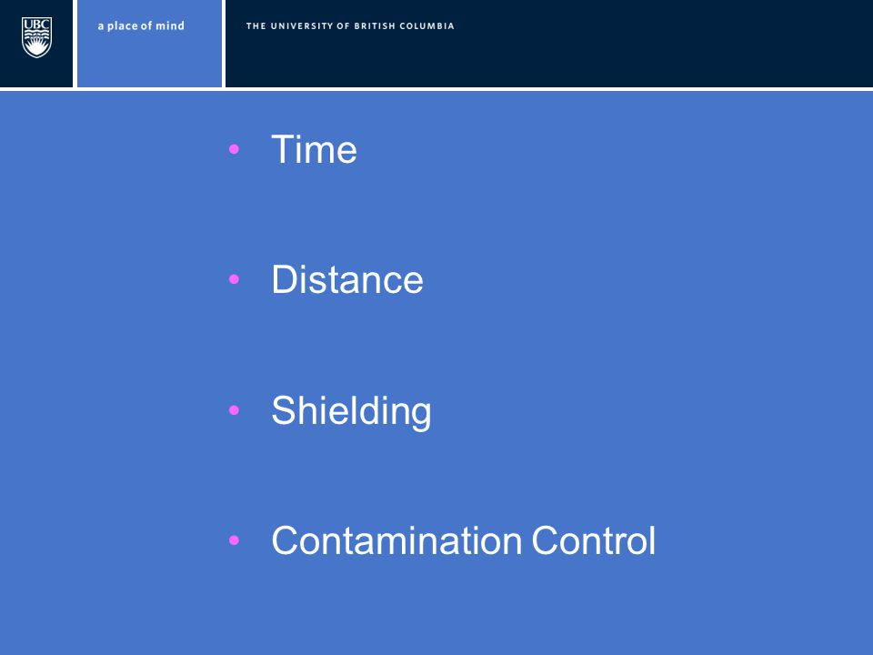 Time Distance Shielding Contamination Control