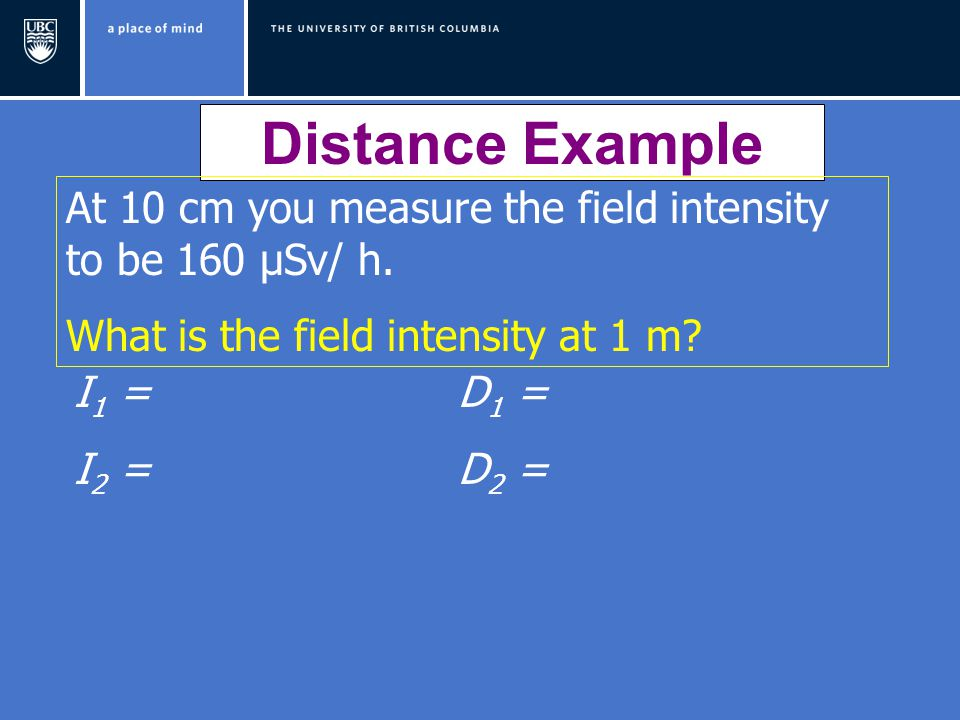 Distance Example At 10 cm you measure the field intensity to be 160 μSv/ h. What is the field intensity at 1 m