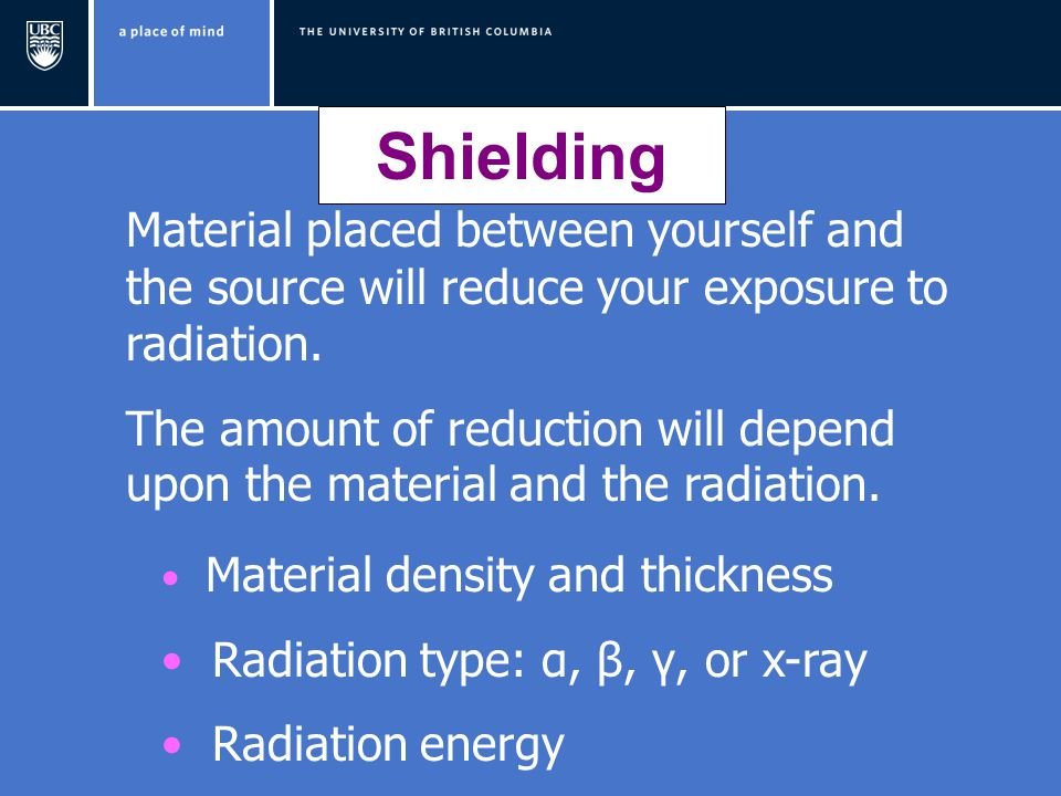 Shielding Material placed between yourself and the source will reduce your exposure to radiation.