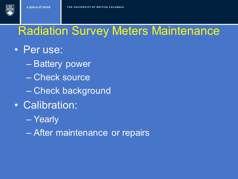 Radiation Survey Meters Maintenance
