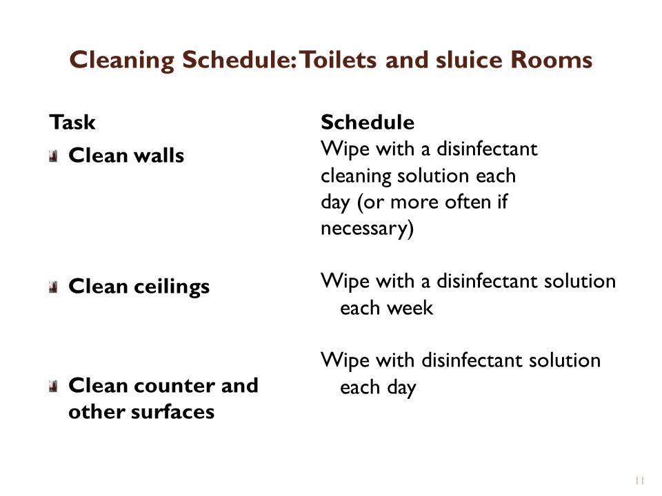 Cleaning Schedule: Toilets and sluice Rooms