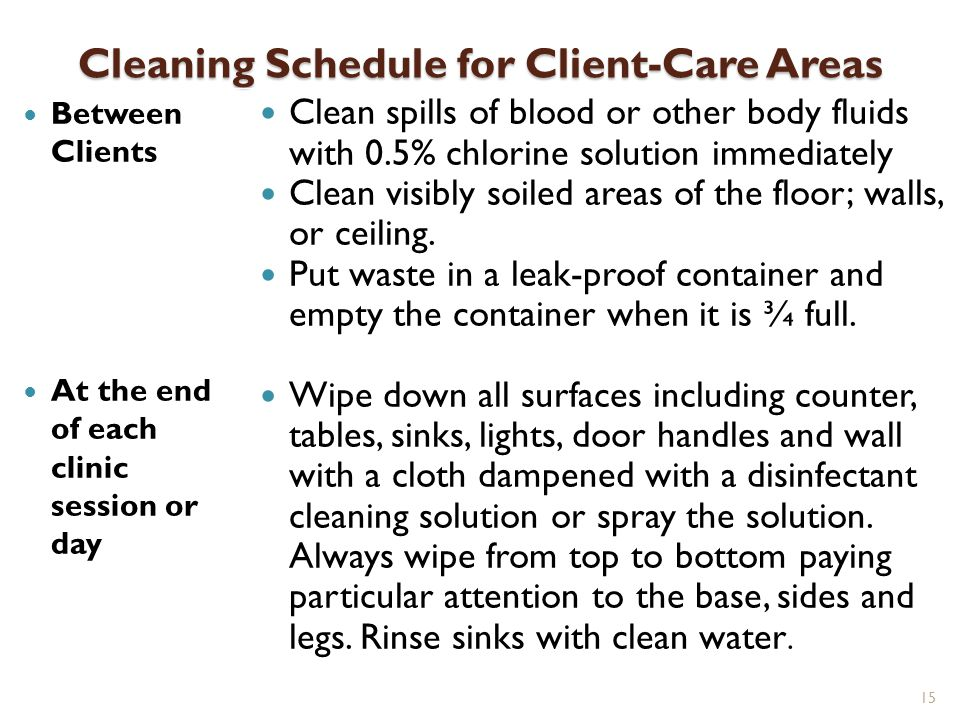 Cleaning Schedule for Client-Care Areas
