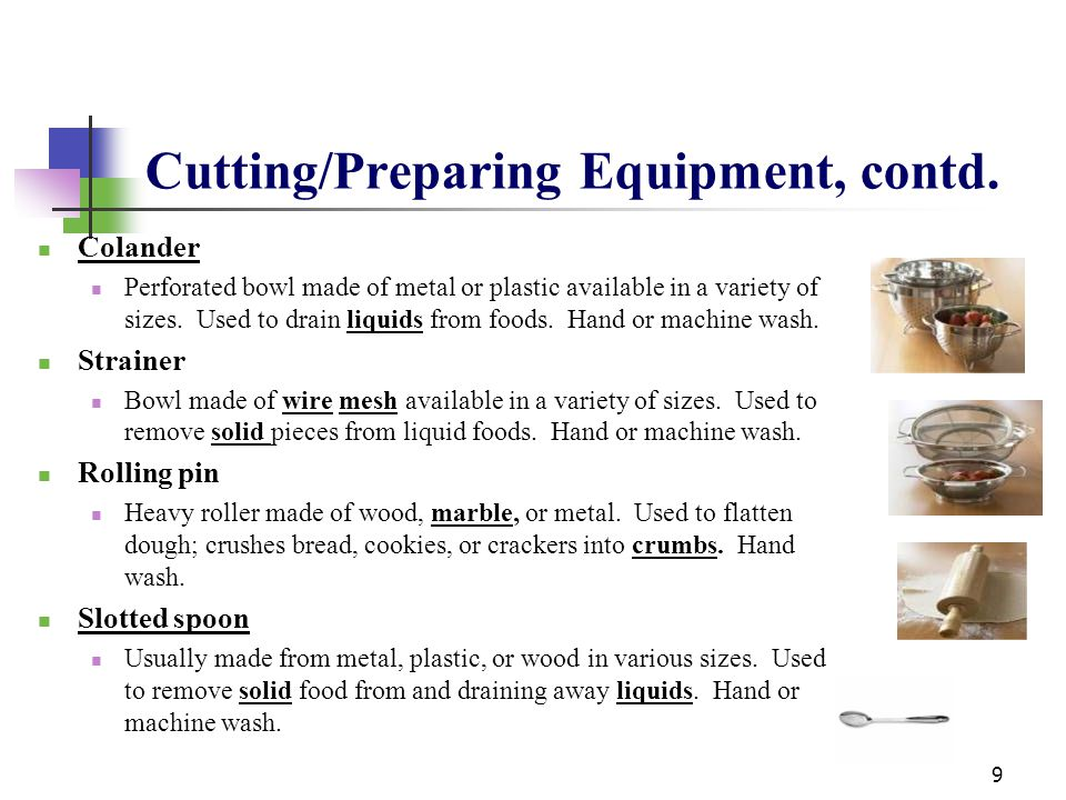 Cutting/Preparing Equipment, contd.