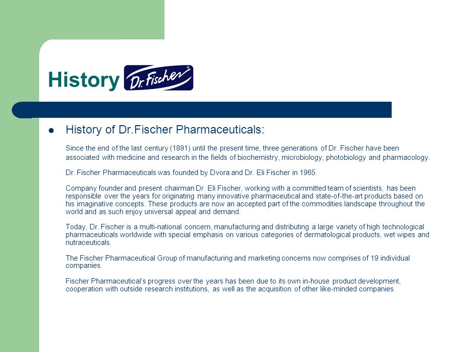 History History of Dr.Fischer Pharmaceuticals: