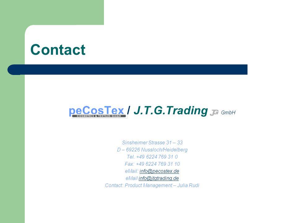 Contact peCosTex / J.T.G.Trading GmbH Sinsheimer Strasse 31 – 33