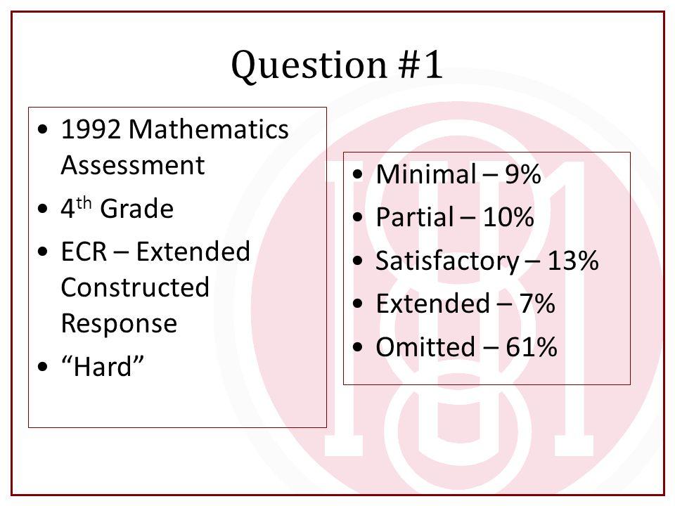 Question #1 1992 Mathematics Assessment 4th Grade Minimal – 9%