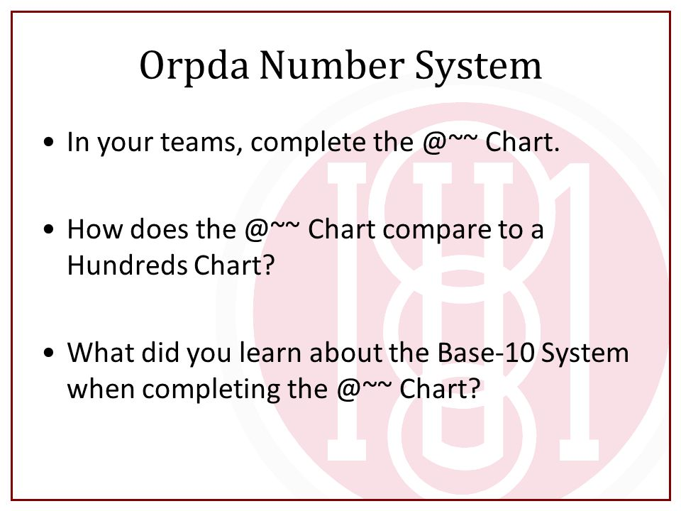 Orpda Number System In your teams, complete the @~~ Chart.