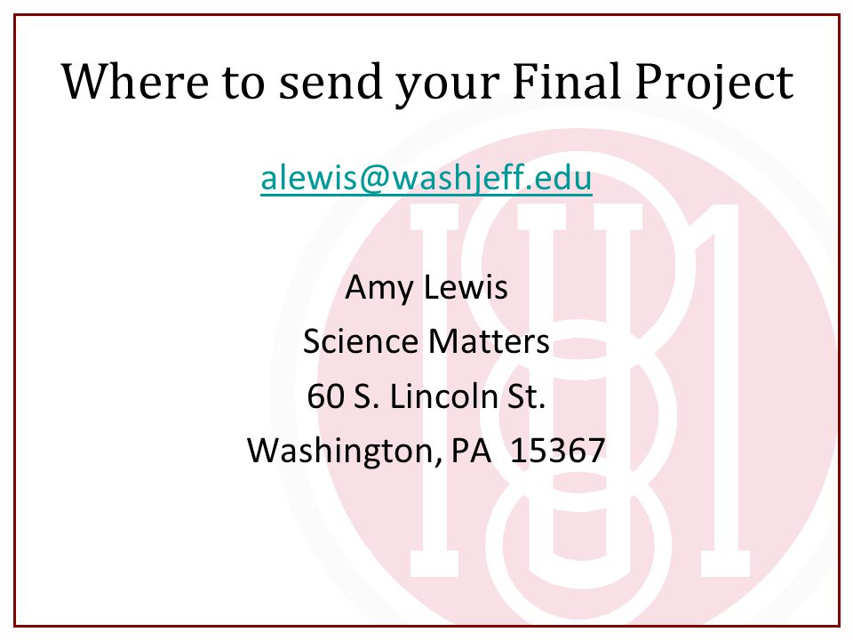 Where to send your Final Project