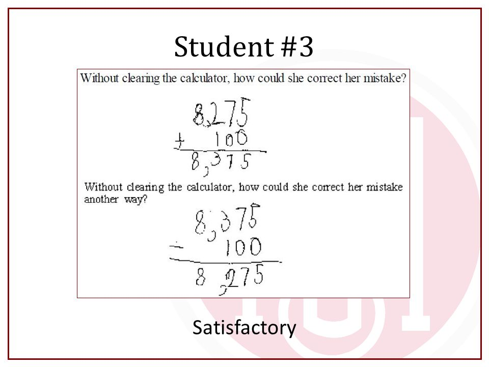 Student #3 Satisfactory