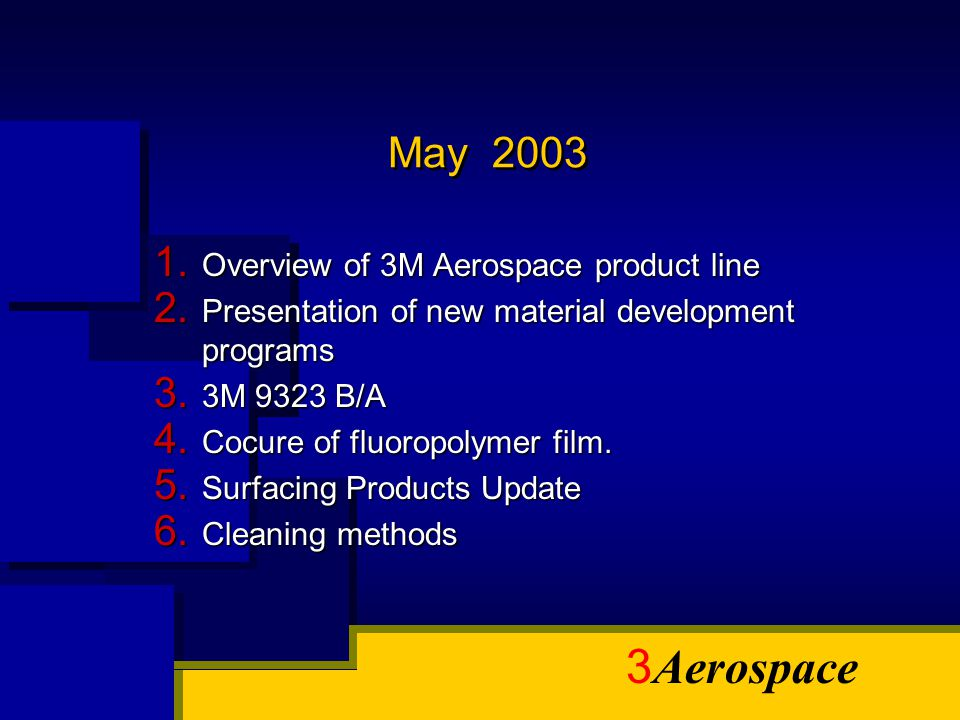 May 2003 Overview of 3M Aerospace product line