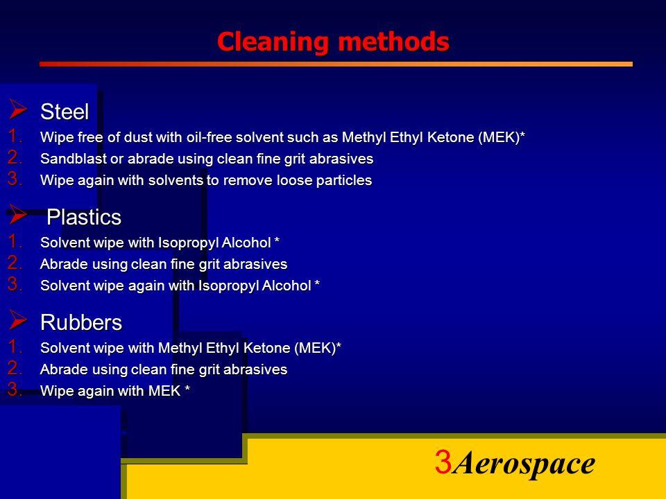 Cleaning methods Steel Plastics Rubbers