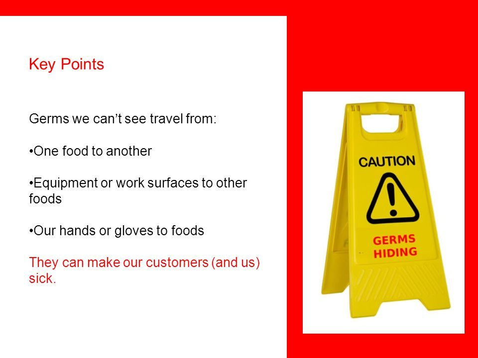 Key Points Germs we can't see travel from: One food to another