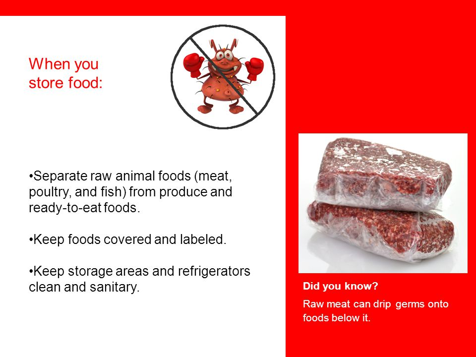 Raw meat can drip germs onto foods below it.
