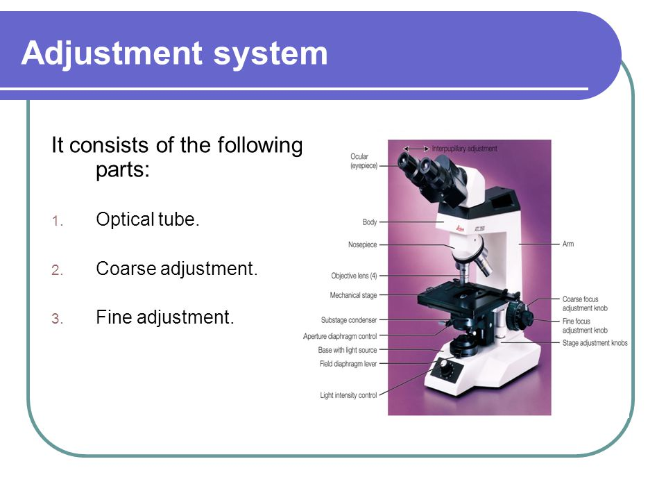 Adjustment system It consists of the following parts: Optical tube.