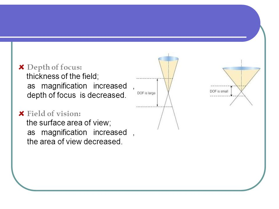 Depth of focus: thickness of the field; as magnification increased , depth of focus is decreased.