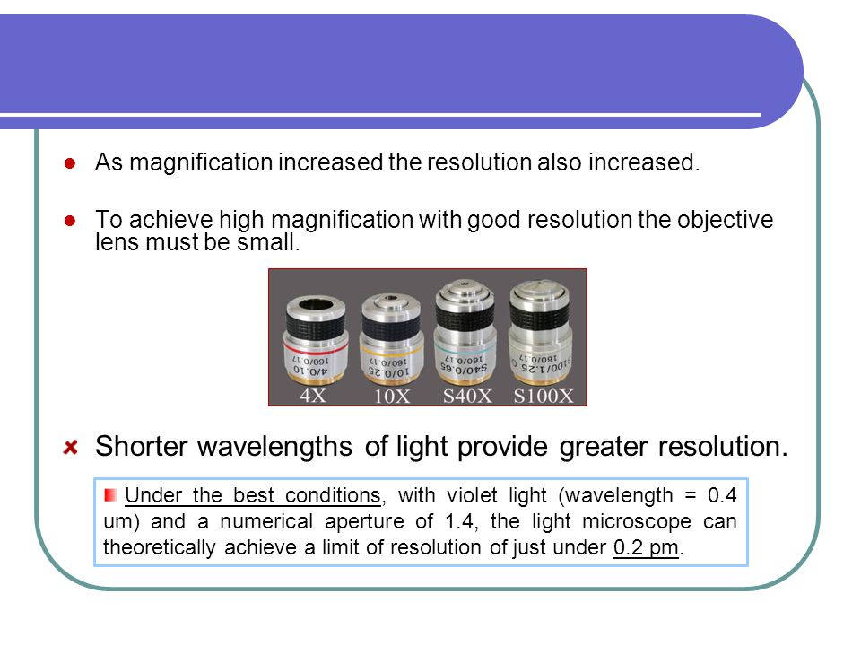 Shorter wavelengths of light provide greater resolution.