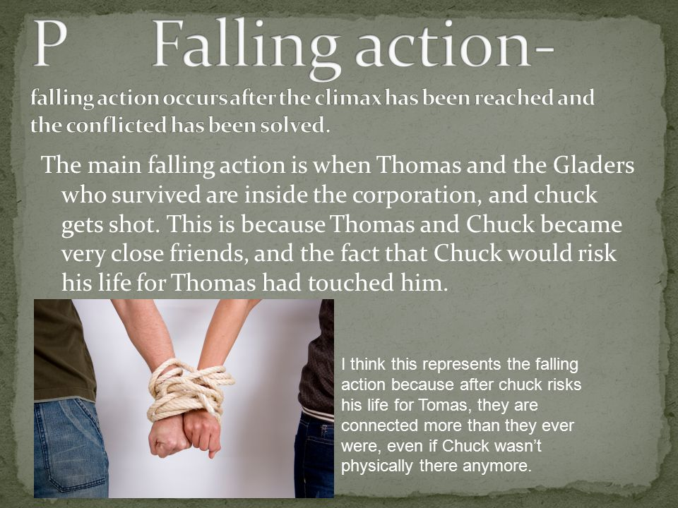P Falling action- falling action occurs after the climax has been reached and the conflicted has been solved.